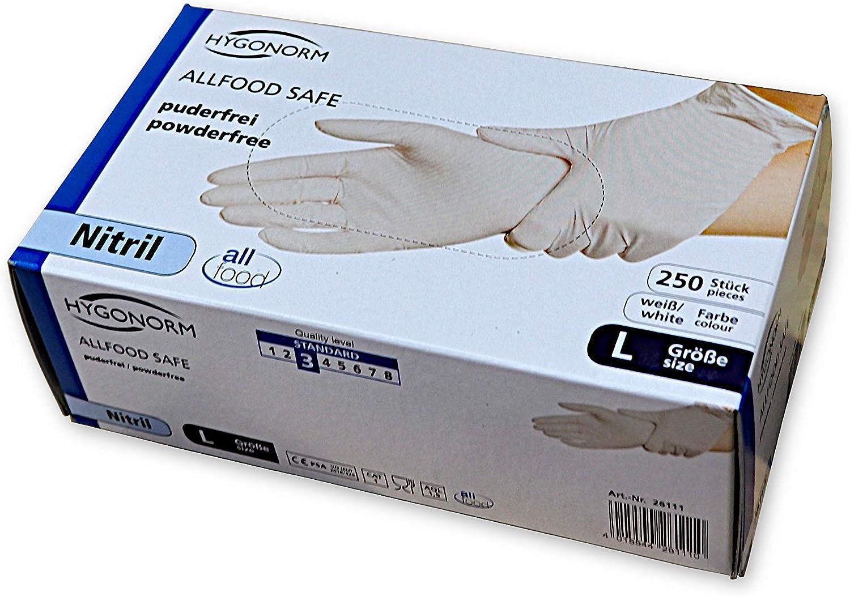 Farbe: wei/ß Gr puderfrei Einmalhandschuhe 250 St/ück pro Box Einmalhandschuhe HYGONORM Nitril-Einweghandschuhe Safe Light unsteril allergiefrei Untersuchungshandschuhe L
