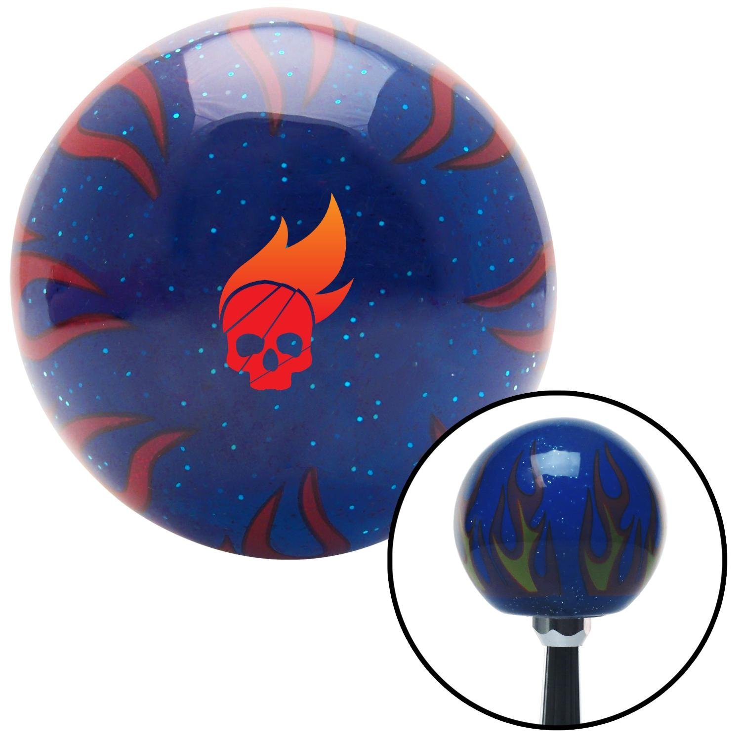 American Shifter 256171 Orange Flame Metal Flake Shift Knob with M16 x 1.5 Insert Blue Curvy Road