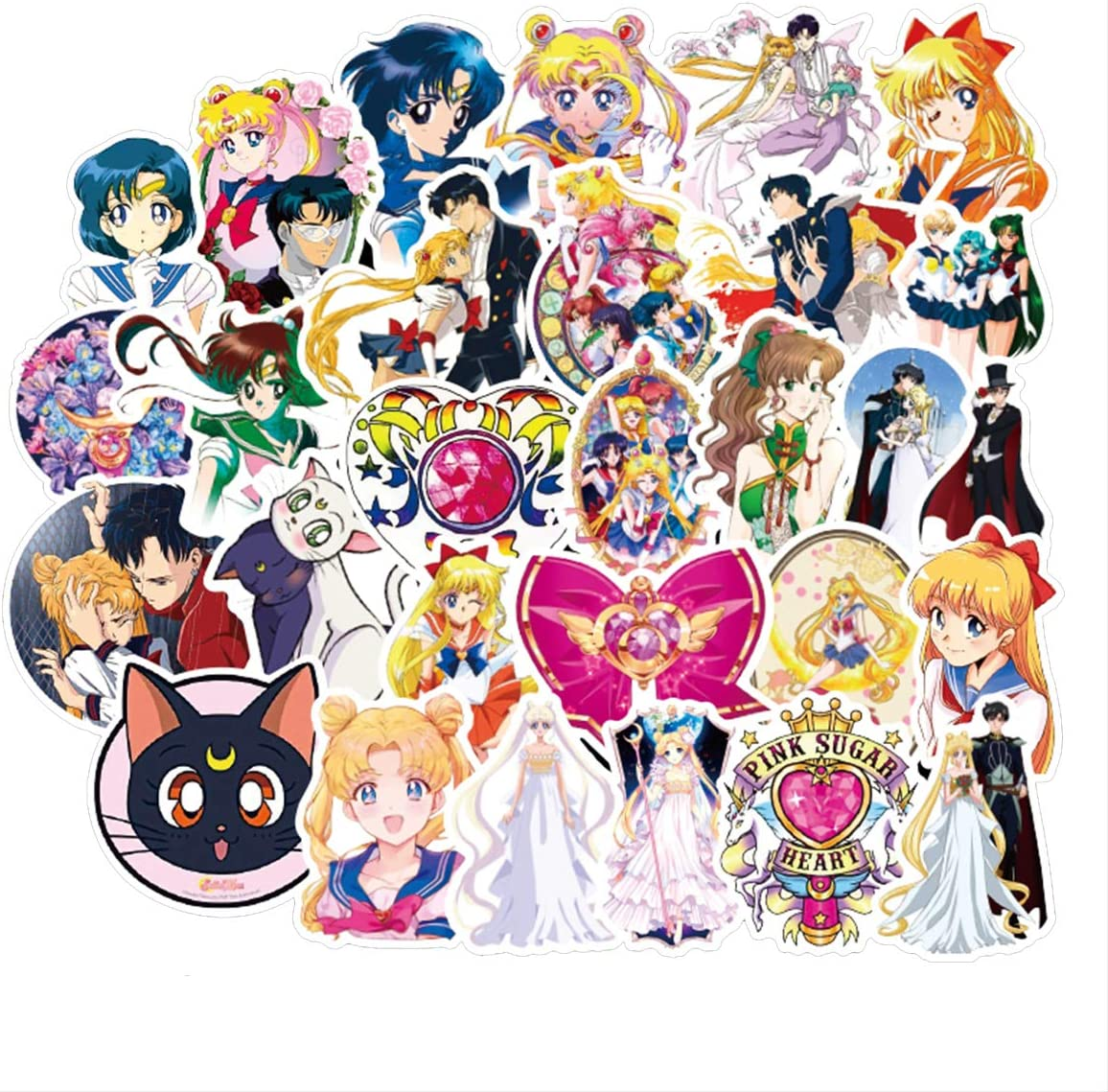 Sailor Moon Pretty Guardian Waterproof Stickers/Decals (50 pcs) of Japanese Anime Cartoon for Laptop Skateboard Snowboard Water Bottle Phone Car(Sailor Moon)
