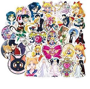 Sailor Moon Pretty Guardian Waterproof Stickers/Decals (50 pcs) of Japanese Anime Cartoon for Laptop Skateboard Snowboard Water Bottle Phone Car(Sailor Moon)