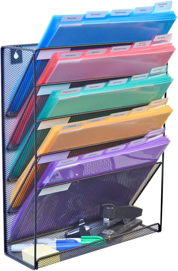 Ultimate Office Mesh Wall File Organizer 5 Tier Vertical Mount Hanging File Sorter Rack with Accessory Tray. Includes 25, 5th Cut PocketFile Clear Document Folder Project Pockets (Black)