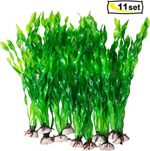 CousDUoBe 11 Pack Artificial Seaweed Decor,Used for Household and Office Aquarium Simulation Plastic Seaweed Water Plants(12 inches)
