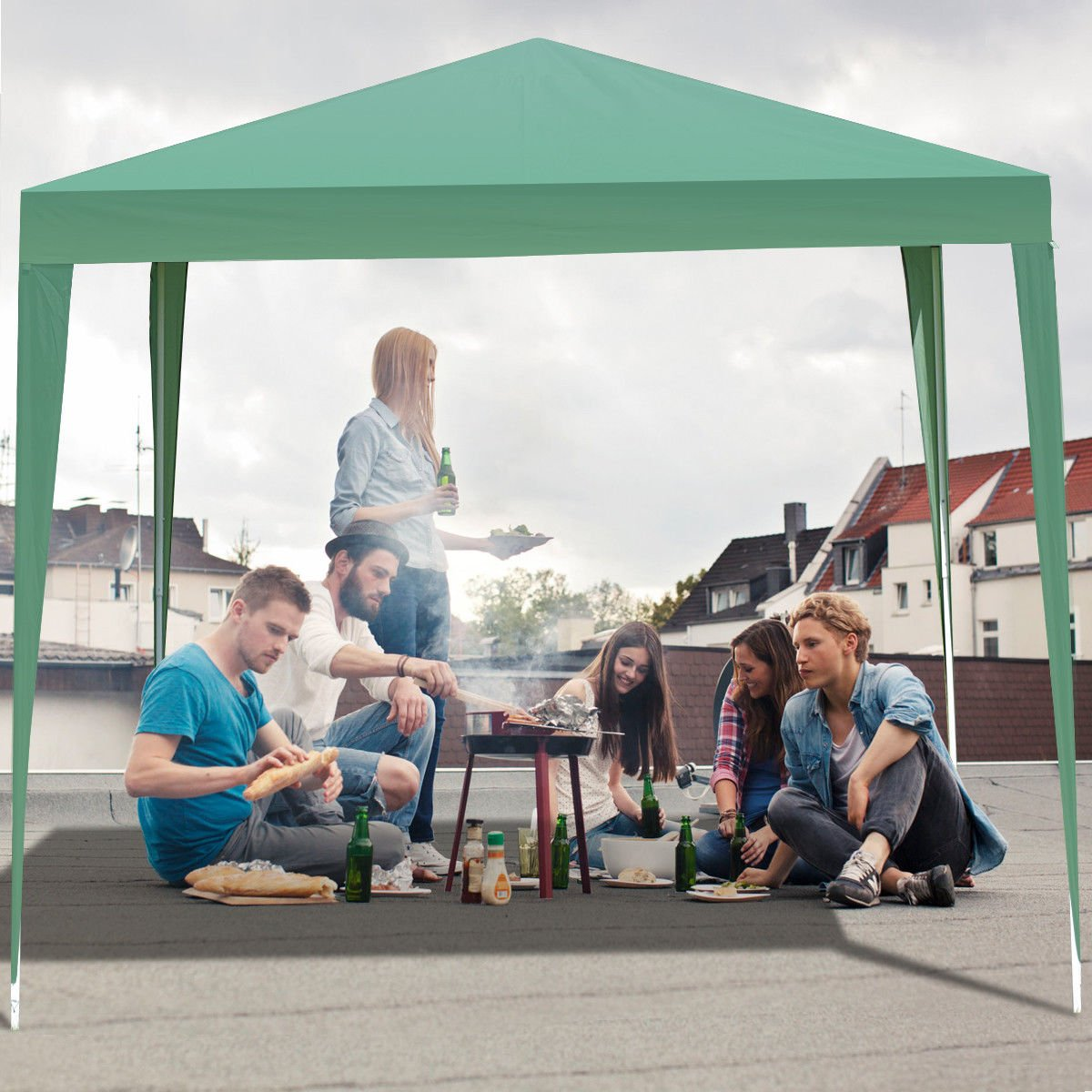 TANGKULA Outdoor Tent 10'X10' EZ Pop Up Portable Lightweight Height Adjustable Study Instant All Weather Resitant Event Party Wedding Park Canopy Gazebo Shelter Tent with Carry Bag (Green)