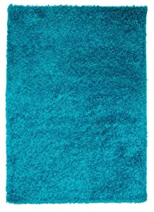 The Rug House Luxueux Tapis épais - Bleu Sarcelle - Poils Longs, Bleu, 60_x_110_cm