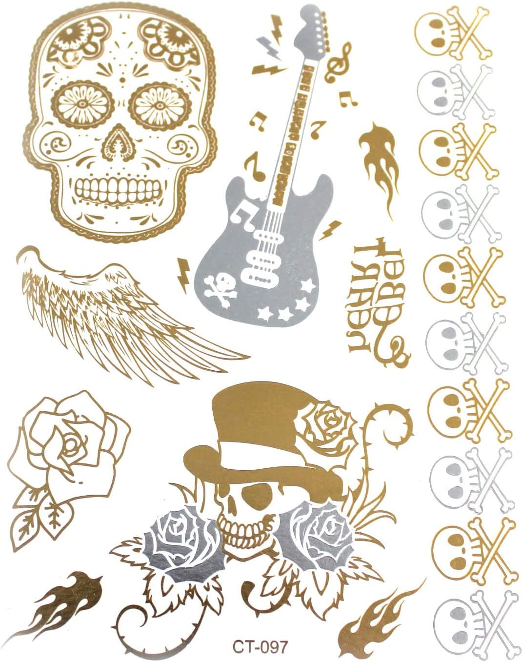 Metallic 01-00390 - Tatuajes para guitarra, alas y rosas, diseño ...
