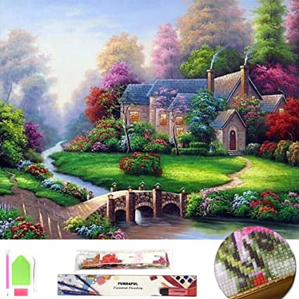 Amazon Com Large 5d Diamond Painting Kit For Adults Full Square Drill Embroidery Cross Stitch Crystal Rhinestone Mosaic Making Home Decor Christmas Gift Spring Landscape Cottage Art Craft Summer Scenery