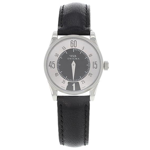 Enigma por Gianni Bulgari 115201S esfera de color plateado y negro FECHA cuarzo reloj de pulsera