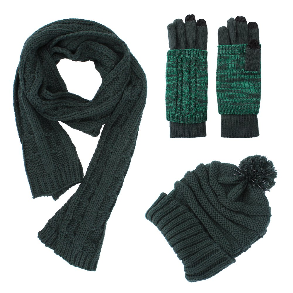 Stricken M/ütze Schal Handschuhe Set-Frauen M/änner Unisex Zopfmuster Winter kaltes Wetter Geschenkset