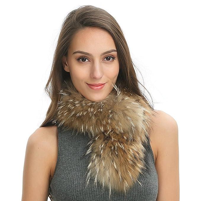 rivenditore all'ingrosso f3bf2 e6373 Ferand - Sciarpa Elegante Caldo in Vera Pelliccia di Procione per Inverno -  Donna