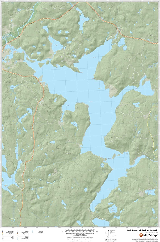 Nipissing Bark Lake Ontario 24 x 36 Paper Wall Map