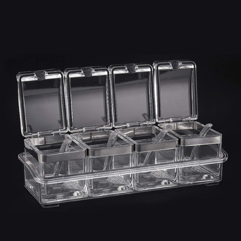 Waineg Seasoning Box, Modern Atmosphere Home Kitchen Supplies European Creative Seasoning Box Seasoning Jar Set Seasoning Bottle Seasoning Box Acrylic Salt Jar