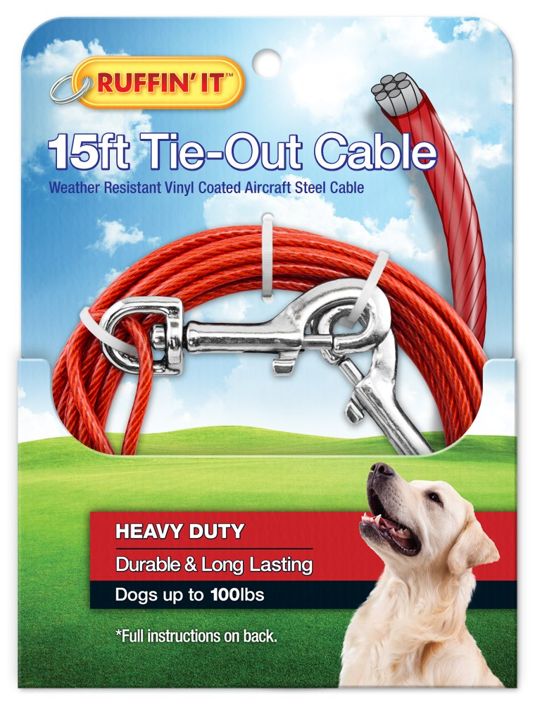 RUFFIN' IT 1700-Pound Strength Heavy Duty Cable Tie Out, 15-Feet by RUFFIN' IT