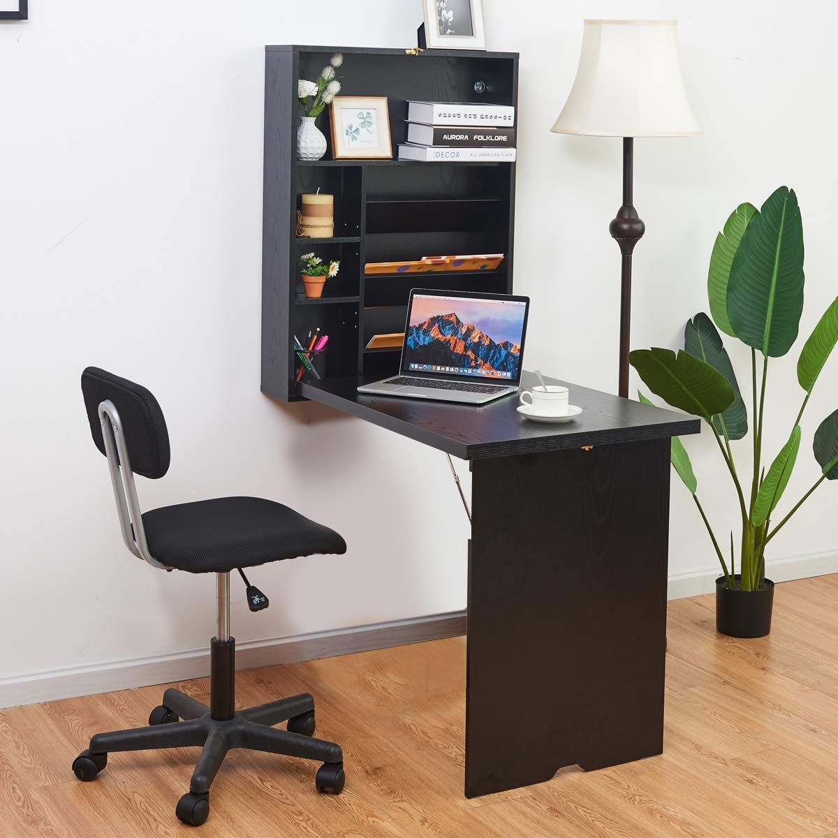Tangkula Wall Mounted Table, Fold Out Convertible Desk, Multi-Functional Wall Mounted Laptop Desk, Writing Desk Home Office Desk with Large Storage Area