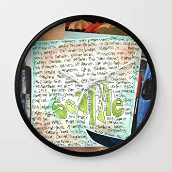 Amazon.com: Society6 Seattle Wall Clock Black Frame, White Hands ...