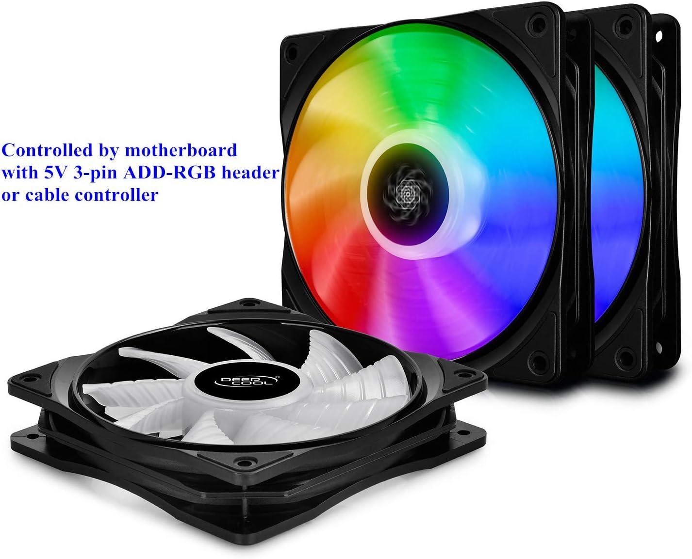 DEEP COOL CF120 PWM Ventilador RGB(120mm) Silencioso de Alto Rendimiento(3 en 1), Controlado por Controlador de Cable (Incluido) o de Placa Madre con Cabezal de 5v 3-Pin