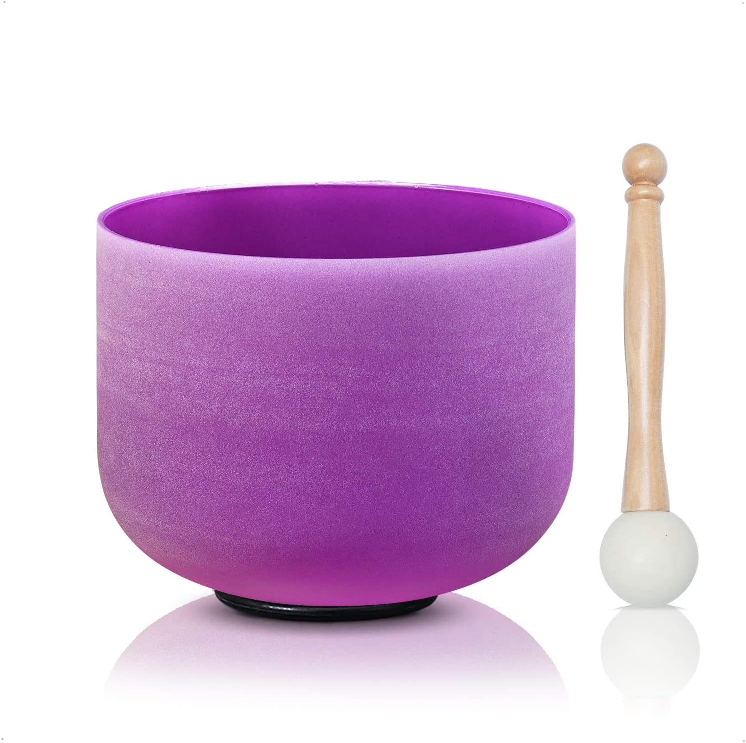 8inch Wuyou Crown Chakra Frosted Quartz Violet B note Crystal singing bowl+Free mallet/&O-ring
