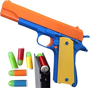 Colt 1911 Toy Gun with Ejecting Magazine and Glow Tip Bullets - Style of M1911 with Slide Action Orange Barrel for Safety Training or Play - Unique Gift Intended for Fun, Not Distance or Accuracy