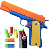 Colt 1911 Toy Gun with Ejecting Magazine and Glow Tip Bullets - Style of M1911 with Slide Action Orange Barrel for…