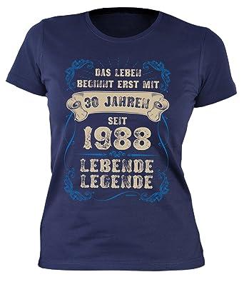 Tini - Shirts Damen T-Shirt 30 Geburtstag Frauen - Geburtstagshirt Frau 30  Jahre - Jahrgang 1988 : .Erst mit 30 Jahren Seit 1988 Lebende Legende ...