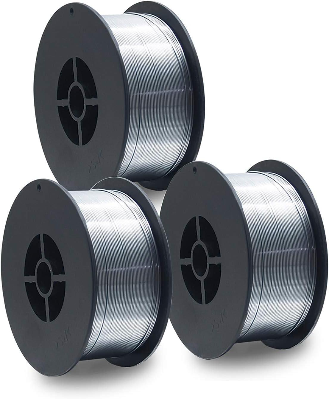 3 unidades de alambre de soldadura D100 MIG MAG de 1 kg, E71T-GS, tamaño 0,8 mm, uso universal, sin gas, sin gas