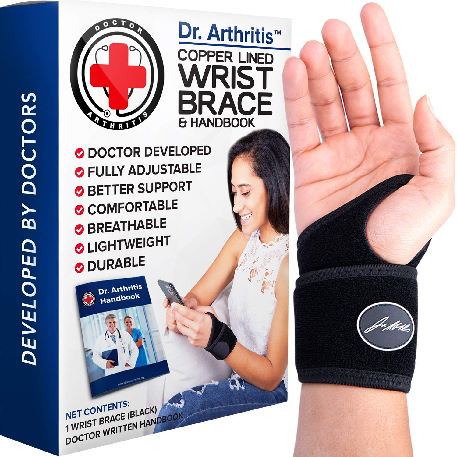 Doctor Developed Copper Wrist Brace / Carpal Tunnel Wrist Brace / Wrist Support / Wrist Splint / Hand Brace / Night Support for Women & Men - Registered Class I Medical Device - & Doctor Written Handbook - Right & Left hands (Single)