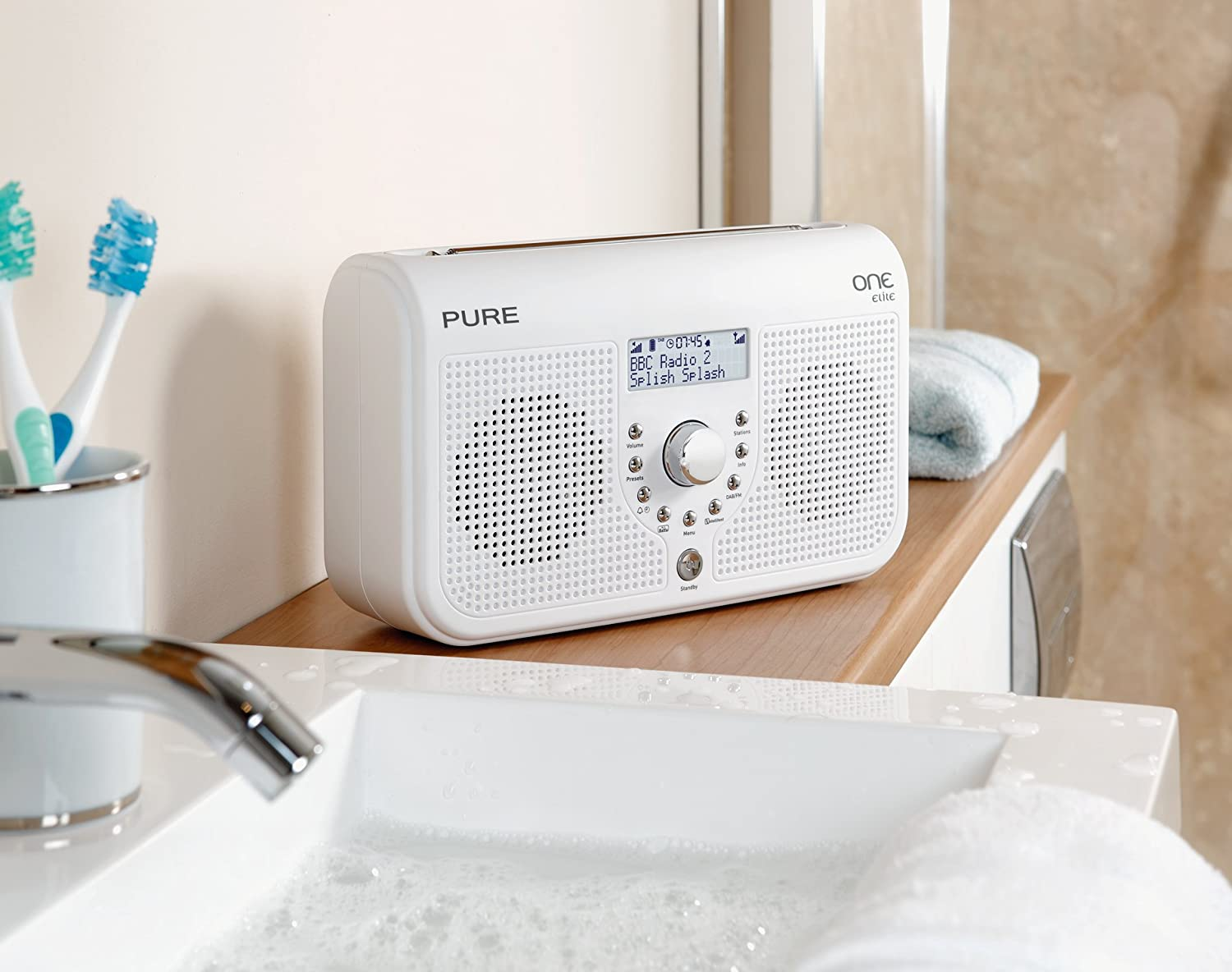 Pure ONE Elite Tragbares Stereo Radio (DAB/DAB+/ UKW Tuner, Uhr Mit  Weckfunktion, Mini USB 2.0) Weiß: Amazon.de: Audio U0026 HiFi
