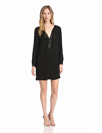 Twelfth Street by Cynthia Vincent Women's Long Sleeve Tie Front Shift Dress, Black, Petite
