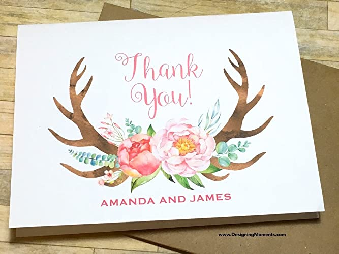 personalized thank you cards rustic floral antler rustic country wedding thank you note cards - Personalized Thank You Cards