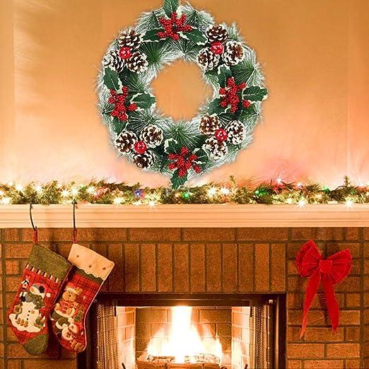 Pine Cone /& Red Berries Rustic Christmas Wreath 38cm