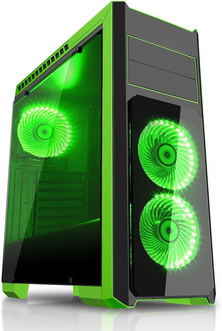 CiT Flash BLK Green - Caja de Ordenador de sobremesa, Color Negro y Verde: Amazon.es: Informática