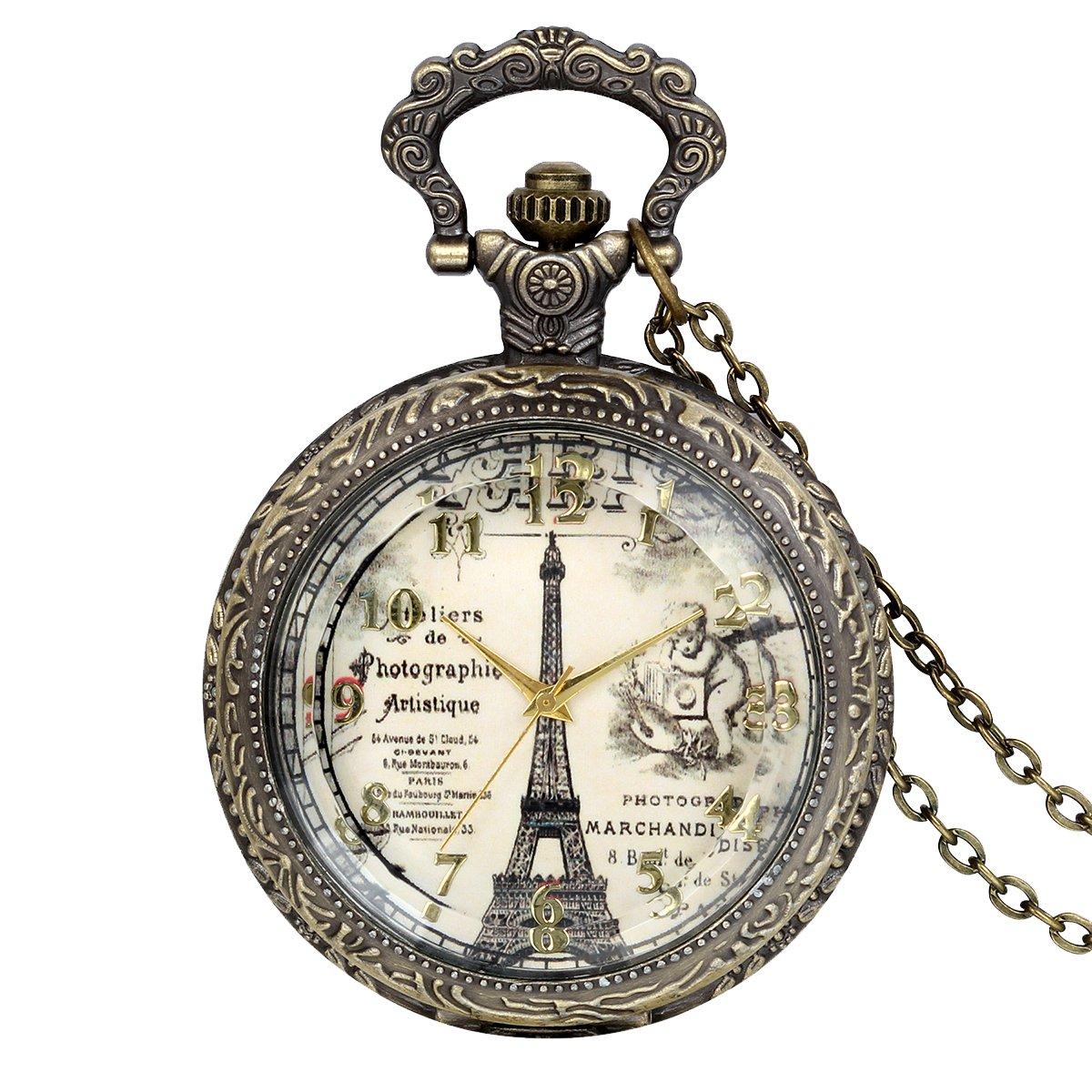 JewelryWe Retro Vintage Pocket Watch Bronze Eiffel Tower Quartz Pocket Watch Necklace Pendant Birthday Gift