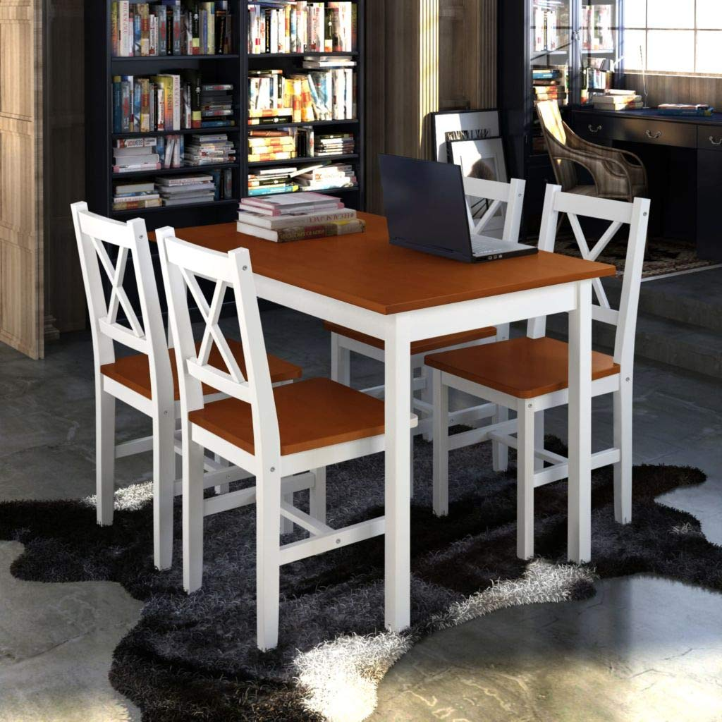 Festnight 5 Pcs Kitchen Dining Table Set with 4 Wooden Chairs, White/Brown