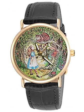 ALICE IN WONDERLAND ORIGINAL LEWIS CARROLL VINTAGE CHESHIRE CAT ART 30 mm WRIST WATCH