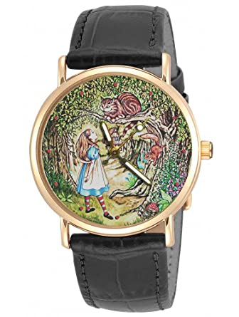 Alicia en el país de las maravillas, hermoso original Lewis Caroll Art 30 mm de gato de Cheshire reloj de pulsera: Amazon.es: Relojes