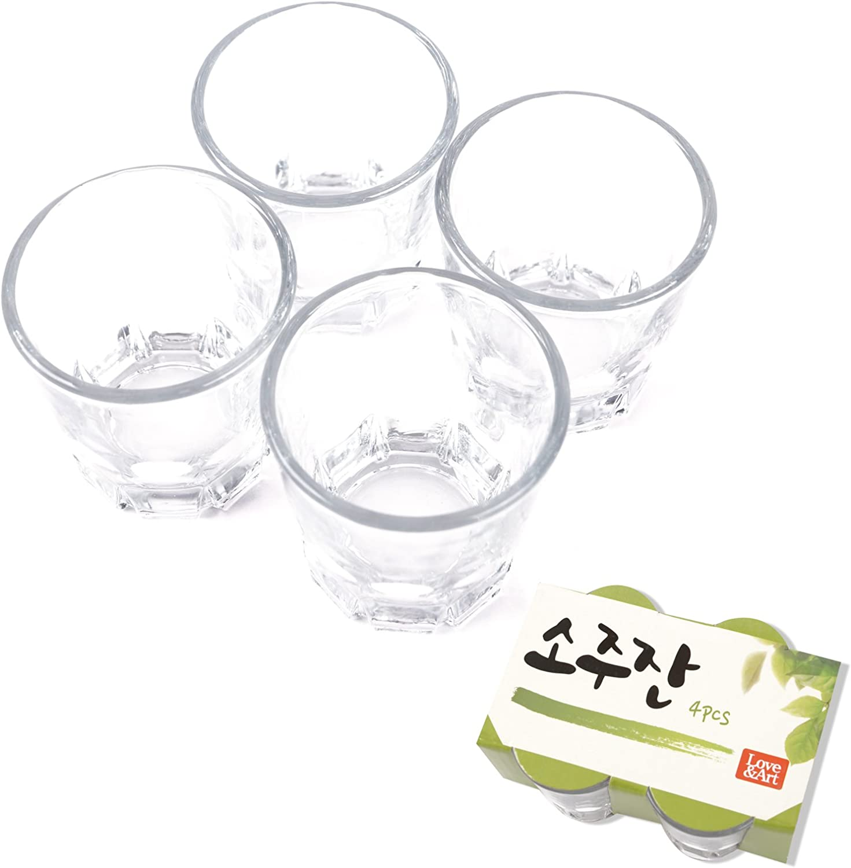 Korean Soju Shot Glasses Set, Also for Whiskey,Tequila,and Liquor, Dishwasher Safe Clarity Glassware, 1.7 oz (4PCS)