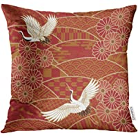 VANMI 抱枕枕套 白鸟 两起曲棍子 日本传统波浪图案 米色 日本东方装饰枕套 家居装饰方形枕套