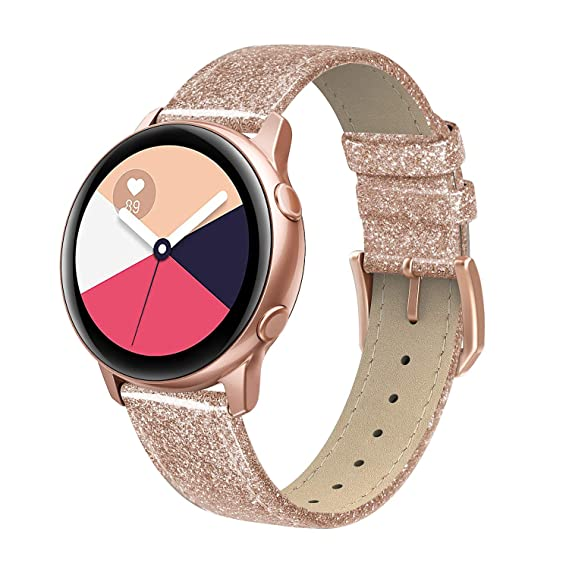 SWEES Leather Band Compatible Samsung Galaxy Watch Active 40mm Band, 20mm Genuine Leather Bling Glitter Dressy Elegant Replacement Bands for Galaxy ...