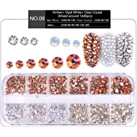 MIOBLET 1440pcs (Opal White + Clear Crystal + Amber)Mixed Round 1.5mm-3.8mm Shiny Nail Art Rhinestones Flat-Back Glass Gems Stones Beads for Nails Decoration Crafts Eye Makeup Clothes Shoes