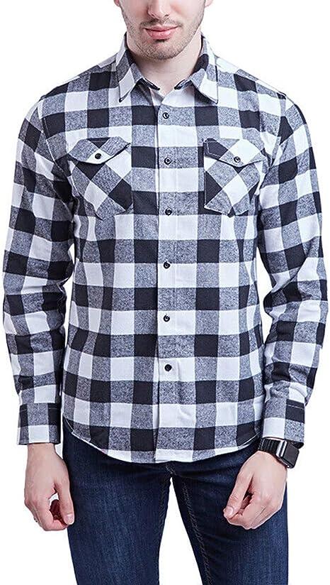 Camisa de Franela de Cuadros Buffalo de Manga Larga con Botones para Hombre: Amazon.es: Ropa y accesorios