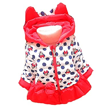 aacf6f21c Amazon.com: Minnie Mouse Winter Coat Baby Girls Hooded Jacket Christmas  Outerwear Red 1-3y: Clothing
