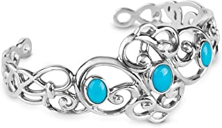 product image for Carolyn Pollack Sterling Silver Sleeping Beauty Turquoise Gemstone 3-Stone Cuff Bracelet Size S, M and L (SMALL)