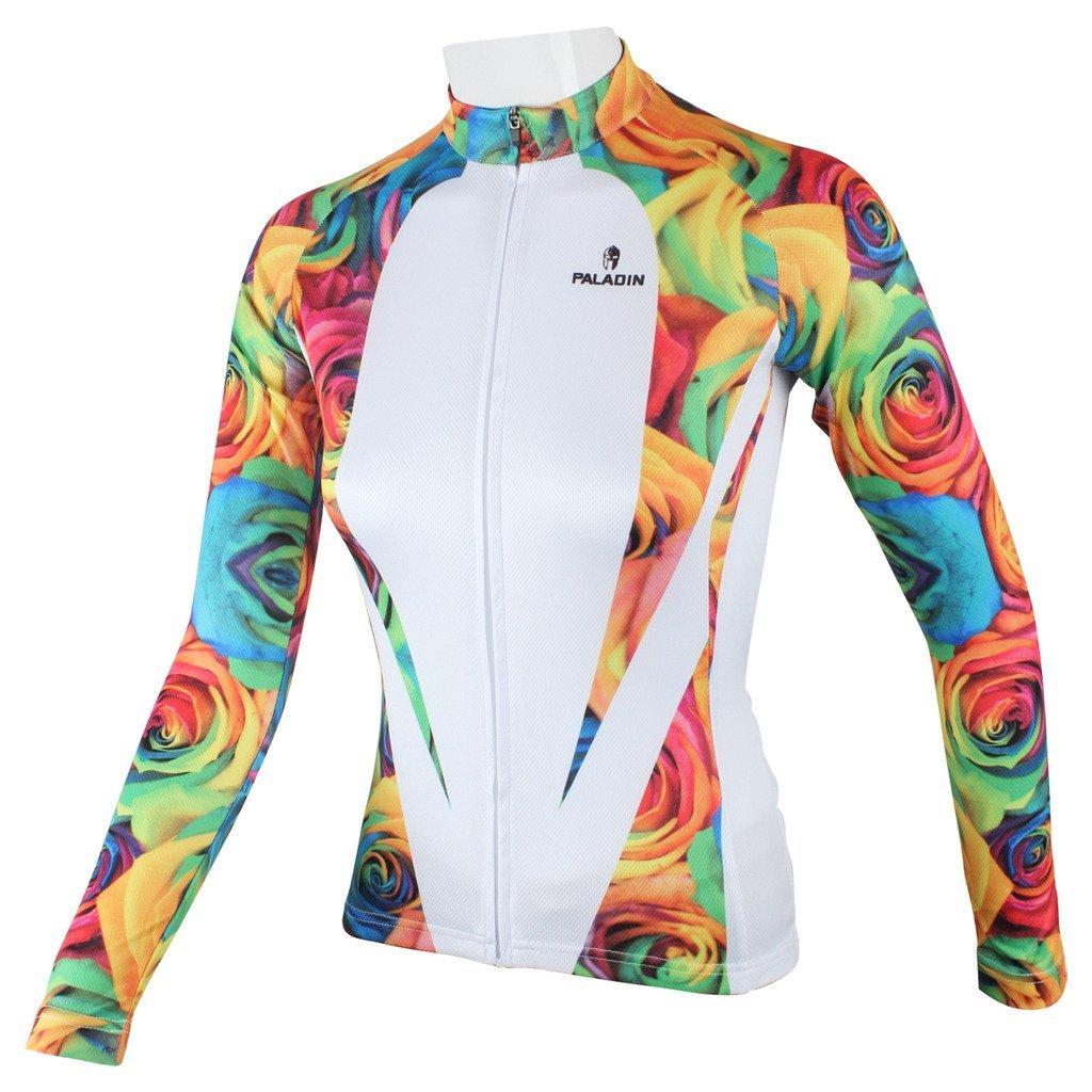PaladinSportローズパターンレディースホワイトCycling Clothes Medium 224-Long sleeve B015AET57O