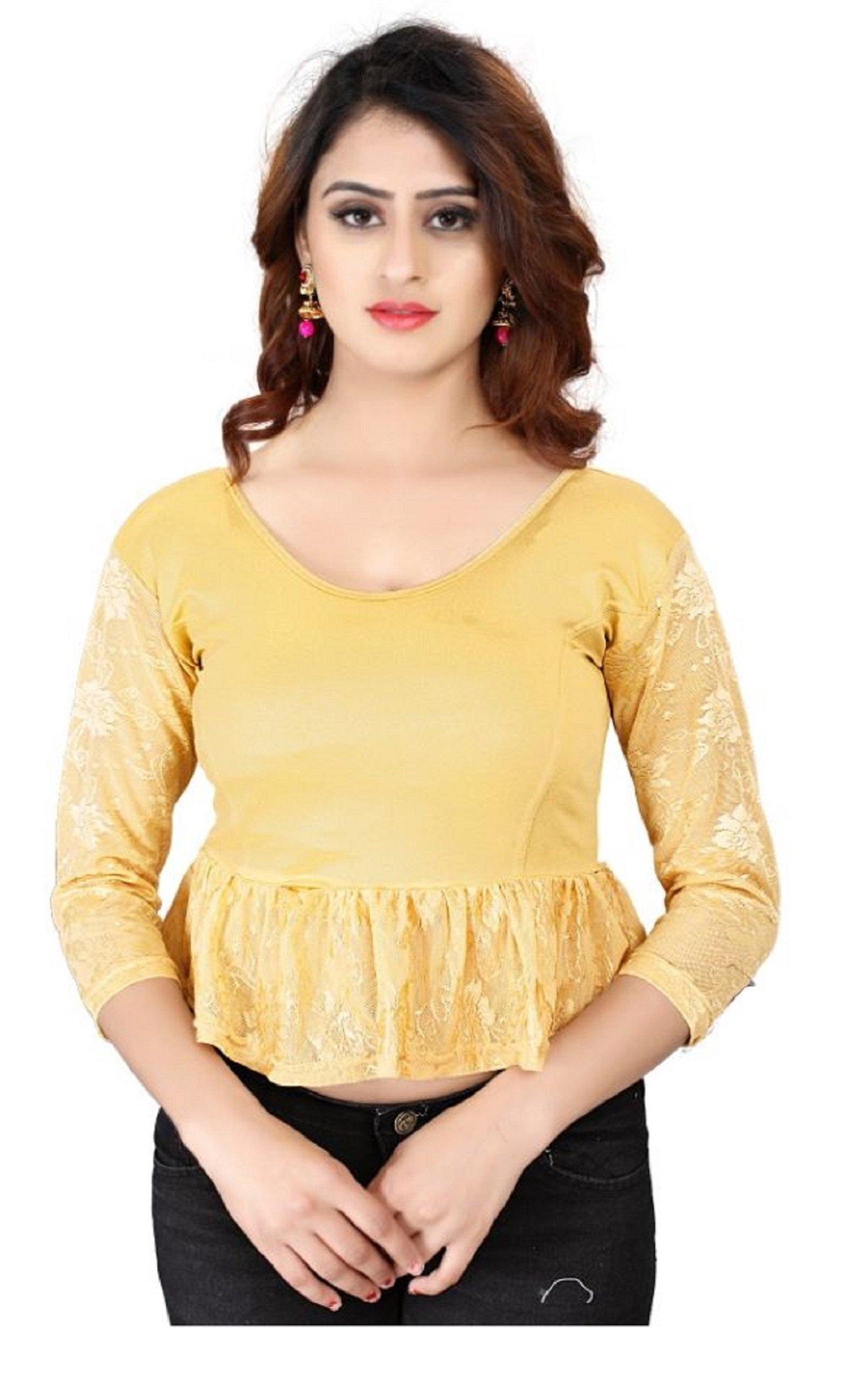 Fressia Fabrics Women's Stretchable Readymade Saree Blouse Crop Top Choli 171_GOLD