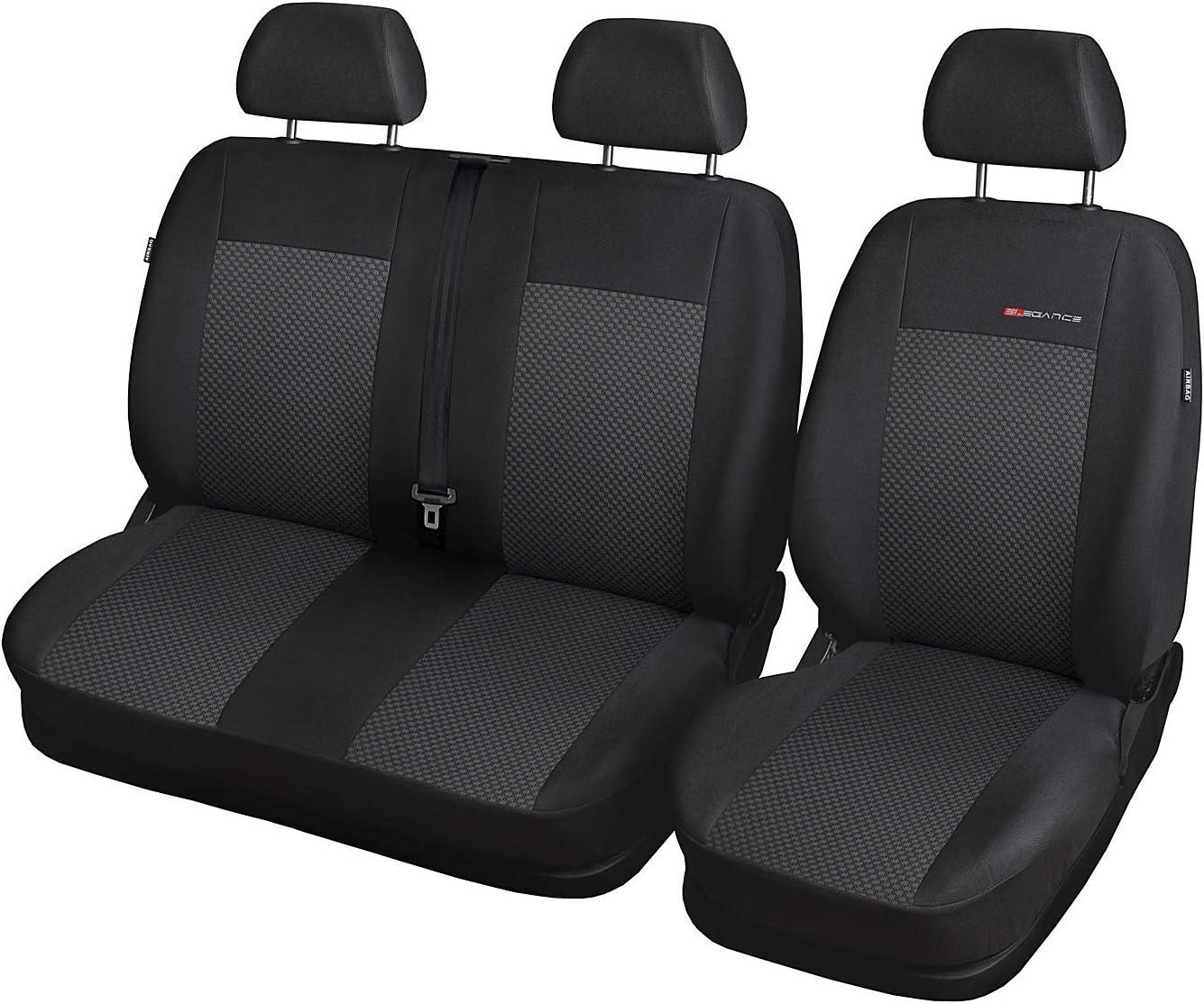 1+2 Autositze vorne Nicht teilbar Bus Sitzbez/üge Polyester Grau mit Airbag 2er Set Saferide Autositzbez/üge Transporter universal f/ür Vordersitze