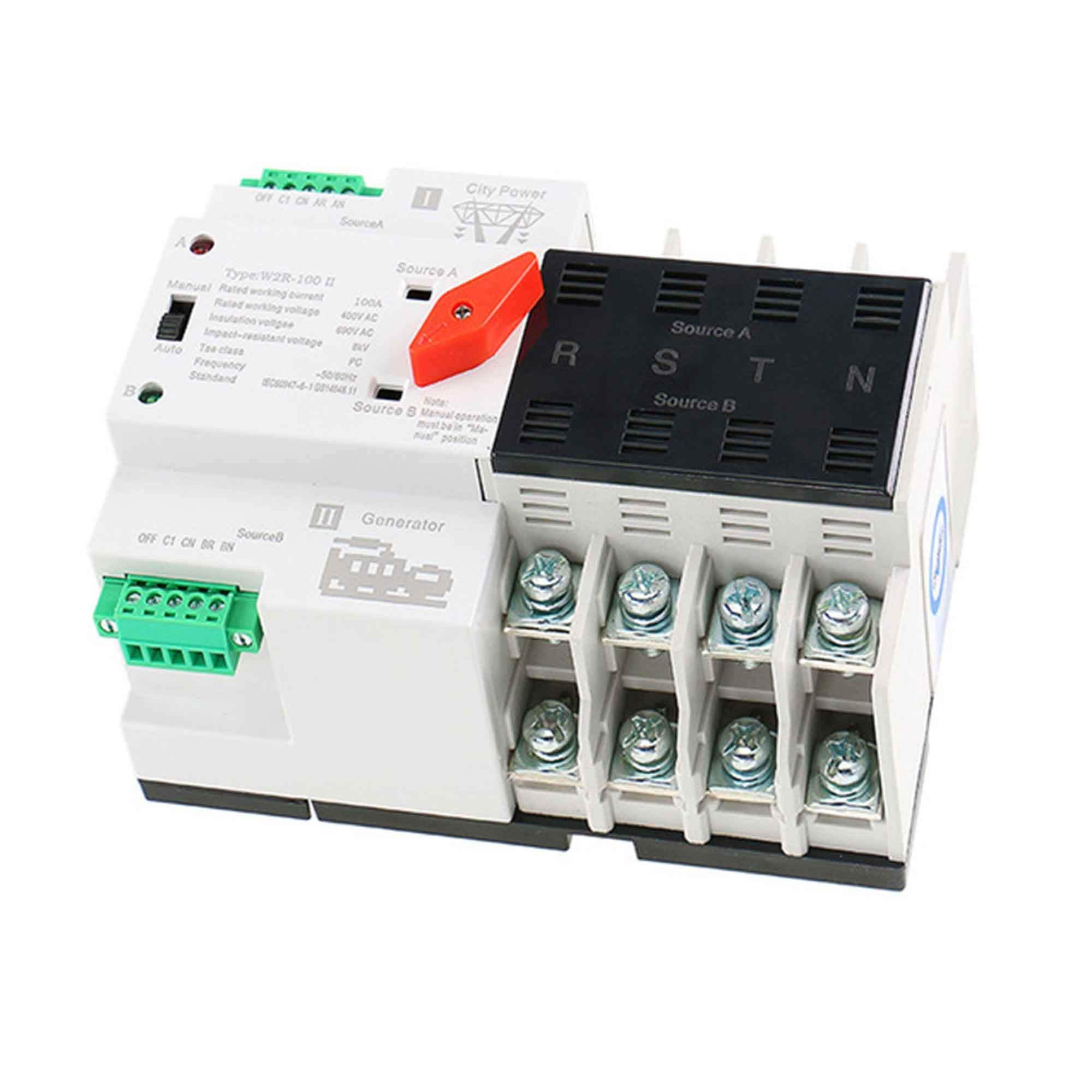 GAEYAELE W2R Mini ATS 4P Automatic Transfer Switch Controller Electrical Type ATS Max 100A 4POLE (W2R-4P 100A) by GAEYAELE (Image #1)