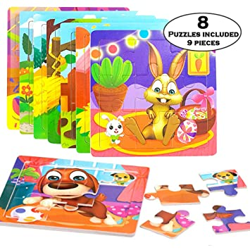 Wooden Puzzles For 3 Year Old Boy Toys 8 Packs Jigsaw