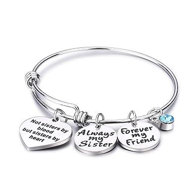 9e0e60b1b4e30 Udobuy Stainless Steel Best Friends Bracelets Not Sisters by Blood But  Sisters by Heart Bangle Bracelet Friend Jewelry for Friends