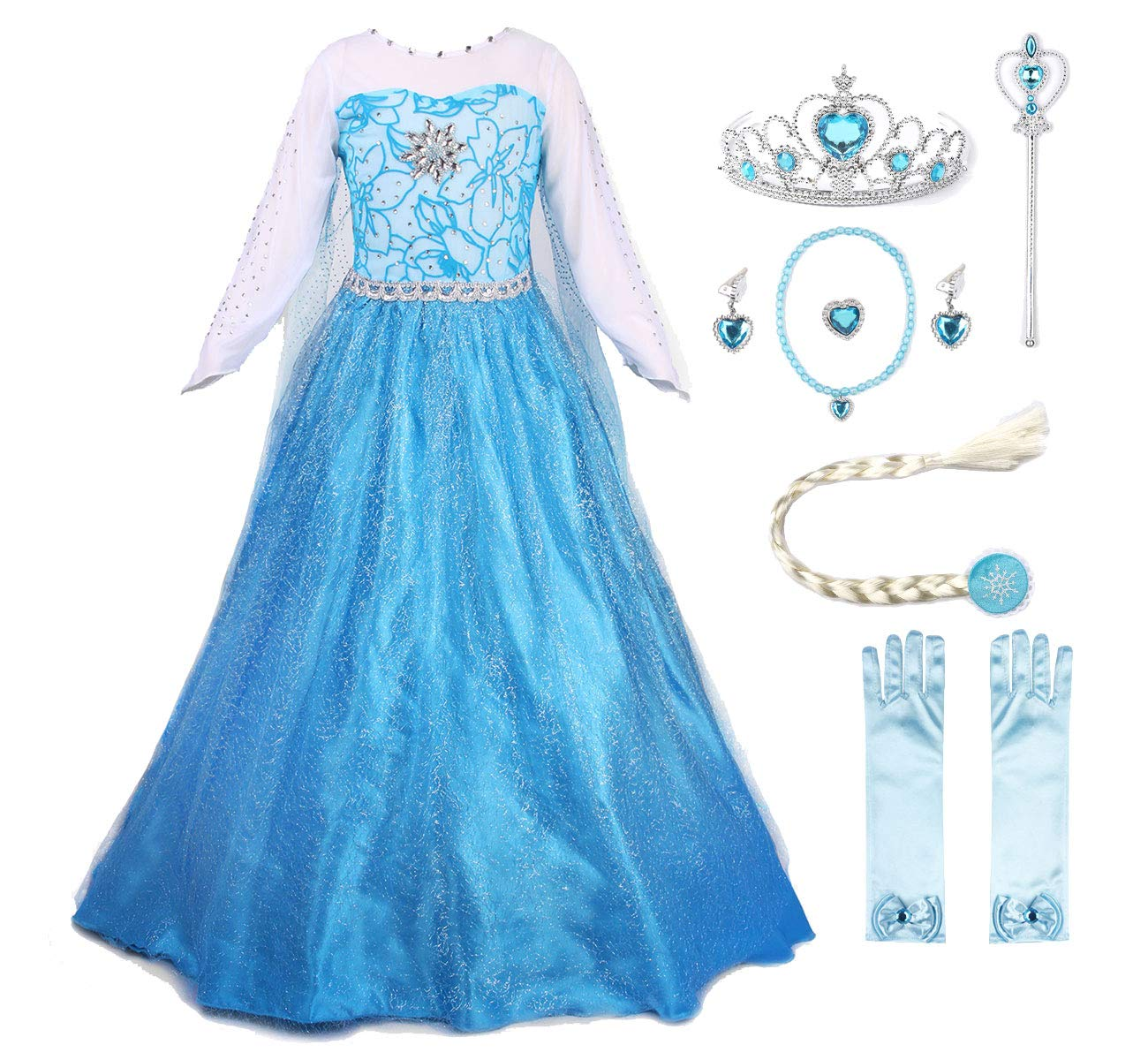 JerrisApparel Snow Party Dress Queen Costume Princess Cosplay Dress Up (3-4, Elsa with Accessories)