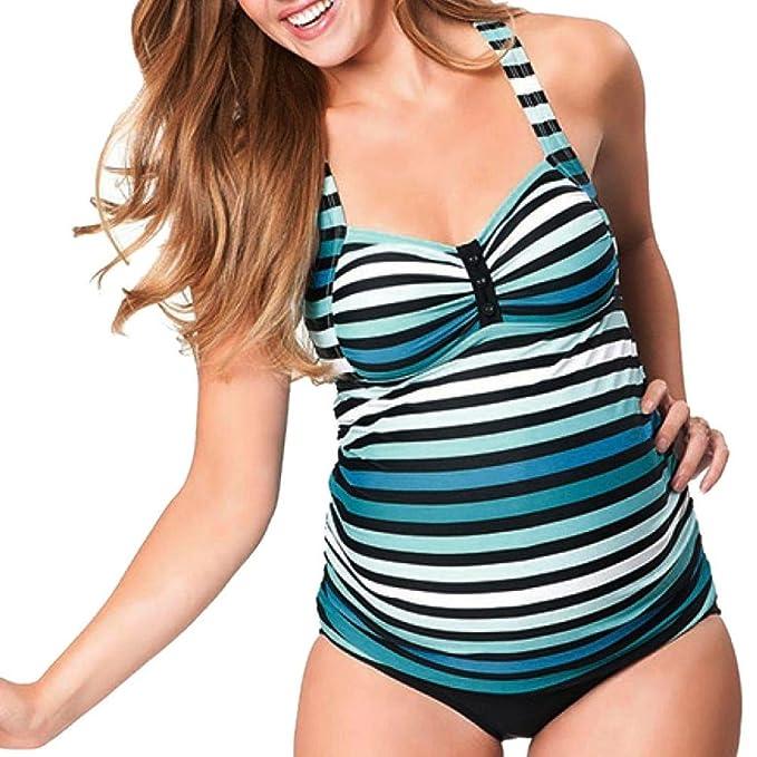 Premamá Mujer Tankini Trajes de baño El embarazo bikini QinMM Maternidad Trajes de baño 2 Pieza Acolchado (Azul, L): Amazon.es: Ropa y accesorios