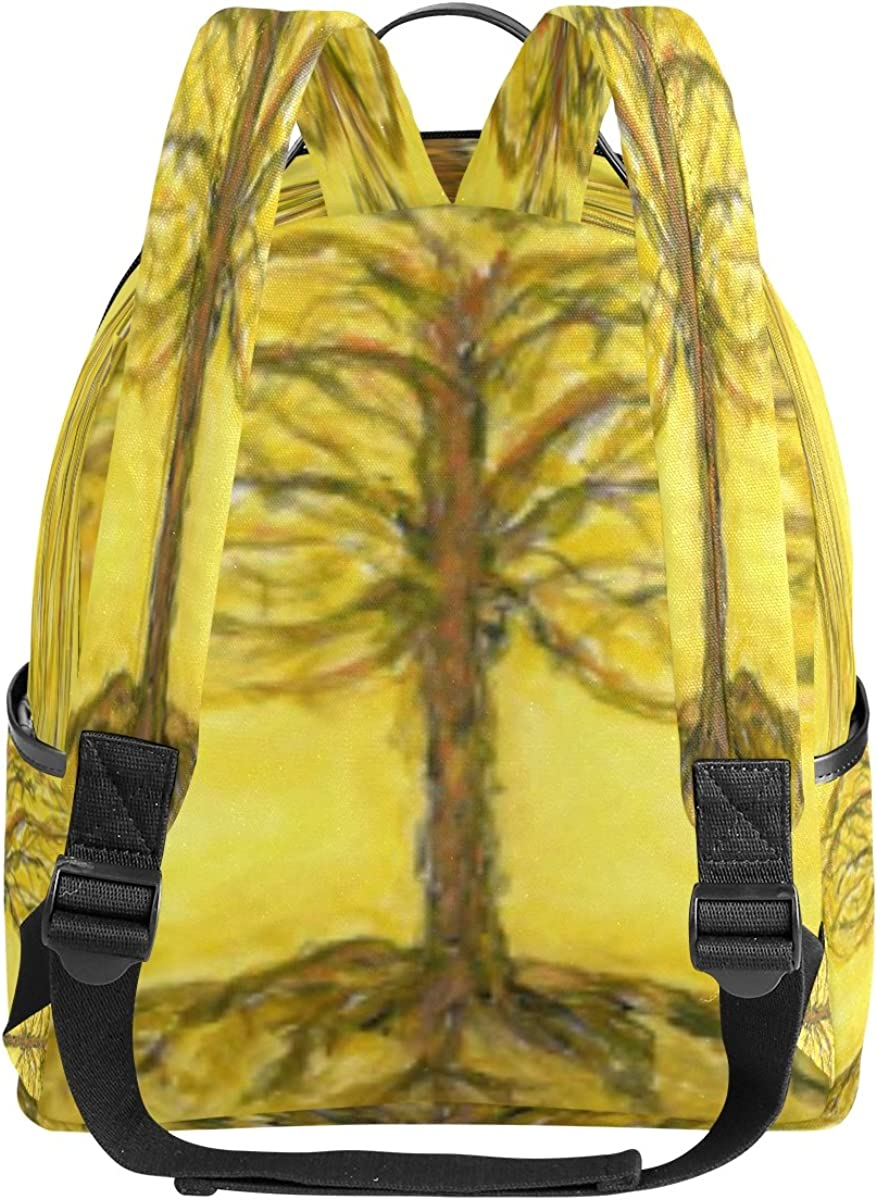 Mr.Weng Yellow Tree Printed Canvas Backpack For Girl and Children